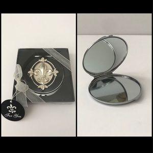 New Black Fleur de Lis Compact Mirror